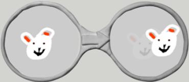ウサギさんの絵をメガネに入れてプとグラミング
