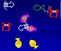 魚たちの絵がプログラムによって動くよ